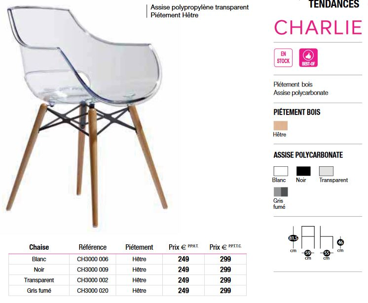 Chaise assise transparente CHARLIE