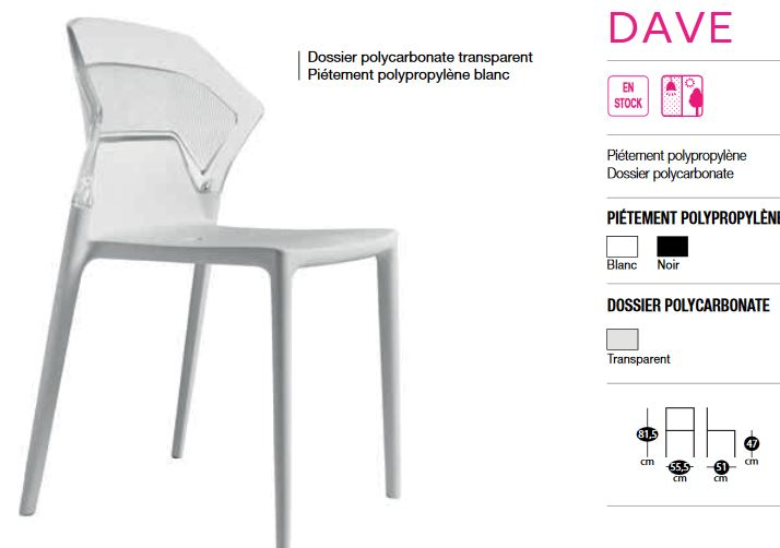 Chaise dossier transparent